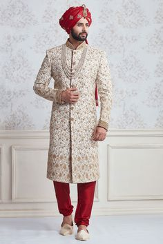 Cream Silk Wedding Wear Sherwani, designer wedding sherwani, wedding sherwani for men, grooms wear, indian wedding wear for men Sherwani For Men Wedding, Wedding Dresses Men Indian, Groom Wedding Dress, Sherwani Groom, Indian Wedding Wear, Wedding Suits, Punjabi Wedding, Indian Weddings, Groom Outfit