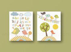 Nursery wall art, baby nursery art, kids art, kids room decor, bird, alphabet, numbers, tree, Birdies School Set of 2, 8x10 prints