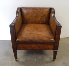 Buy online, view images and see past prices for Inlaid mahogany and leather club chair. Invaluable is the world's largest marketplace for art, antiques, and collectibles. Adirondack Chair Cushions, Polywood Adirondack Chairs, Patio Chairs, Arm Chairs, Office Chairs, Buy Chair, Sofa Chair, Upholstered Chairs, Brown Leather Recliner Chair