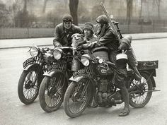 This has got to be Poncho the dog with Betty and Nancy Debenham, and friend riding their BSAs in the early 1920s... going on some wild adventure as usual.