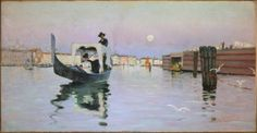 Return From the Lido, 1884, Ralph Curtis, American, 1854-1922, Oil on canvas, 74 x 142 cm