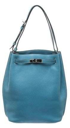 81e4e414bda5e Hermes Turquoise Togo Leather So Kelly Shoulder Handbag