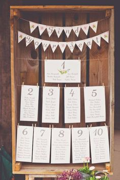 Wooden crate, twine, clothes pins! Seating chart