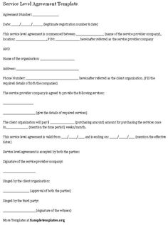 Service Level Agreement Template Custody