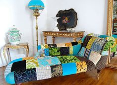 PATCHWORK. love the bones of this chaise.