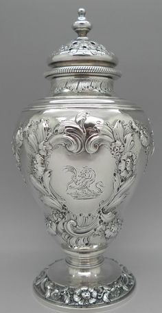 George II period sterling silver muffineer or sugar castor, by John Swift, London c1750