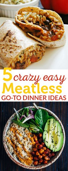 There are those days where you just don't know what to cook for dinner and you don't feel like going on Pinterest and researching. I honestly feel the same way sometimes and I have my go-to meals I go back to time and time again! They're easy, tasty (my boyfriend goes for seconds all the time with these) and they're all meatless (which you can easily make them vegan by omitting the dairy).