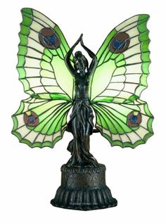 Butterfly Lady Green Accent Tiffany Stained Glass Table Lamp