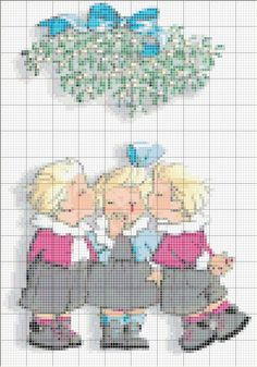 pour broder les triplés - les-chardons Cross Stitch Needles, Christmas Cross, Mistletoe, Cross Stitching, Needlework, Diy And Crafts, Kids Rugs, Embroidery, Sewing
