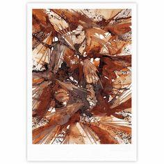 """Ebi Emporium """"Birds Of Prey - Rust Tan Brown"""" Beige Watercolor Fine Art Gallery Print"""