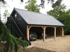 Beautiful timber frame cart lodges can be designed and built to your requirements. Contact our expert construction team. Carport Sheds, Diy Carport, Barns Sheds, Carport Designs, Garage Design, Construction Garage, Construction Design, Garages, Timber Frame Garage
