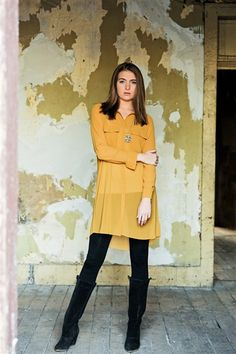 Beautiful mustard sheer tunic!  Maybe a dress or with some tights or skinny jeans...