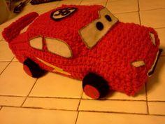 free disney cars crochet stuffed toy patterns | Cars inspired Lightning McQueen Crochet Doll by CraftyCoolCrochet