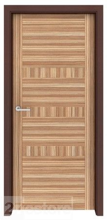 In a modern room full of bold shapes and contrasts, this zebrawood interior door is a natural as a modern architectural element    #zebrawood #doors #interior