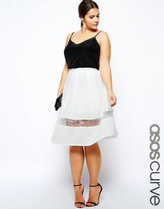 curvy and petite style, fashion, midi skirt, sheer details, asos curve, curvy style, plus-size  http://stylecassentials.blogspot.com/2014/08/skirtpalooza-11-lacesheer-skirts-sure.html