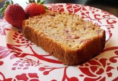 Greek Yogurt Strawberry Banana Bread | Nosh and Nourish - I modified this recipe. I used all purpose flour and regular (not Greek) fat free vanilla yogurt and only 1 banana. I stirred in 1/4 teaspoon maple flavoring and 1 Tablespoon peanutbutter (softened in microwave) with the strawberries. And I used a full helping cup of strawberries. It was dense. The peanut butter was more of an aftertaste. I liked it toasted. I might keep playing with the recipe... -cp