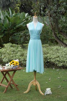 Bridesmaid Convertible Dress With Chiffon Overlay in Aquamarine