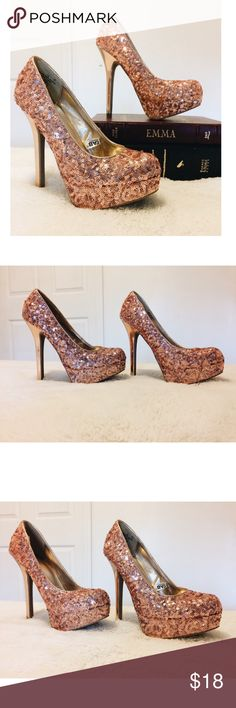 "Rose Gold Champagne Heels Rose Gold Sequin Heels. Size 5.5 With A 5"" Heel. By Xhiliration . Also I Follow All Posh Rules & No Trades. An Unless It Says SOLD, It's Still Available! Everything Comes Clean From A Smoke Free Home! Thank You! Don't Forget To Bundle & Happy Poshing! ☕️ kate spade Shoes Heels"
