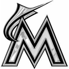 MLB Miami Marlins Chrome Automobile Emblem, Silver
