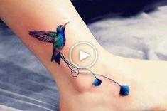 Hummingbird Ankle Tattoo by Anna Yershova Arrow Tattoos, Feather Tattoos, Foot Tattoos, Flower Tattoos, Small Tattoos, Trendy Tattoos, Tattoos For Guys, Geometric Tattoo Bird, Tattoo Designs