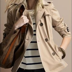 Awesome cropped trench coat . Size small. Beautiful cropped trench coat in size small. Minimalist chic. Like new condition besides one arm cuff belt missing. (See all photos). Can totally be worn without! Bundle any 2 or more items for 50% OFF Vintage Jackets & Coats Trench Coats