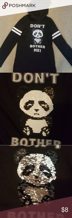 """5 for $25 Panda Logo Hoodie Panda logo """"don't bother me"""" with a cute panda that changes.  Daughter never wore it. Perfect condition.   If you have any questions don't hesitate to ask. Offers welcome ☺ girls Shirts & Tops Sweatshirts & Hoodies"""