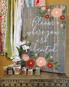 Bloom Where You Are Planted  Rustic Wooden Sign by JellyBirdSigns