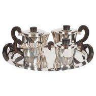 French Streamline Art Deco Silver-Plate and Macassar Coffee/Tea Service