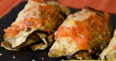 'Canelones' de berenjena con pollo