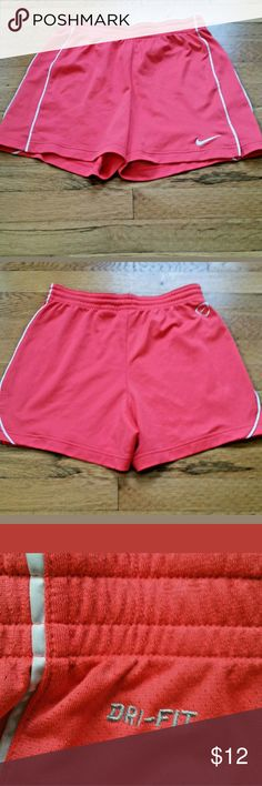 "Nike Dri Fit Workout Shorts Women's DRY FIT Small Nike Running Shorts. Gently used with no flaws. See photos for exact details.  Measurements laying flat Waist: 13""  Due to computer monitor and the actual shooting brightness and other reasons, there will be a certain color difference. The size may have 2-3 cm difference due to the manual measurements. Nike Shorts"