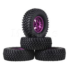 22.14$  Watch now - http://alipgt.shopchina.info/go.php?t=32776044559 - Mxfans 4xRC1:10 Rock Crawler Black 100mm Dia Rubber Tyre+Purple Y-Shape Alloy Wheel Rim 22.14$ #buyonlinewebsite