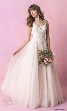 allure romance fall 2018 bridal spaghetti strap sweetheart neckline heavily embellished bodice tulle skirt romantic soft a  line wedding dress open v back chapel train (1) mv -- Allure Romance Fall 2018 Wedding Dresses | Wedding Inspirasi #wedding #weddings #bridal #weddingdress #bride ~