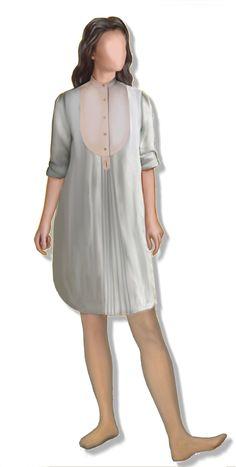 Camicione lungo femminile, cartamodello in taglia 44 (medium), file PDF in fogli A4