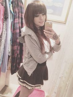 cute outfit long brown hair wig with straight across front bangs #leda #muir #ledamonsterbunny