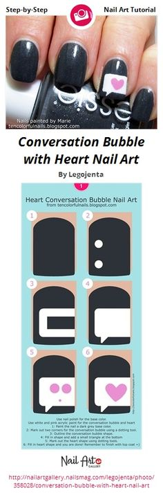 Conversation Bubble with Heart Nail Art by Legojenta from Nail Art Gallery #nailedit