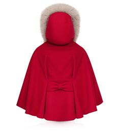BABY DIOR - Red wool cloth cape. Love the bow detail in back.
