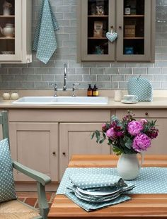 Nice duck egg blue tiles with a glazed finish as they will help reflect light and add texture to the space. Bright Kitchen Colors, Kitchen Colour Schemes, Bright Kitchens, Home Kitchens, Duck Egg Kitchen, Duck Egg Blue And Cream Kitchen, Duck Egg Blue Kitchen Cabinets, Kitchen Walls, Duck Egg Blue Tiles