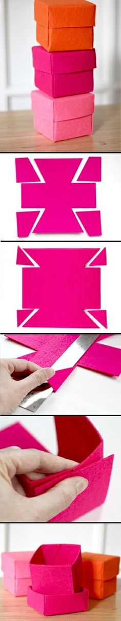 Caixas de arrumação feitas com papel feltro.