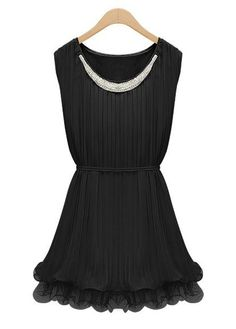 A Line Black Round Neck with Fitting Skater Dress | Rosewe.com