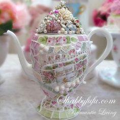 Romantic Bejeweled Mosaic Teapot