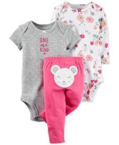 Crafted with versatile layering in mind, this three-piece Carter's set includes two printed bodysuits and an adorable pair of applique pants to keep her cozy and bute. | Cotton | Machine washable | Im