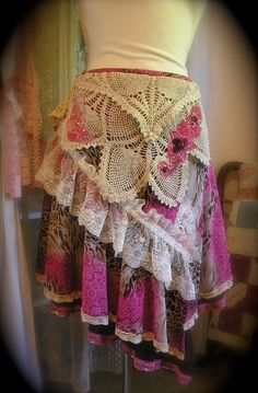 Layered Gypsy Skirt uneven hem lace crocheted by TatteredDelicates, $75.00