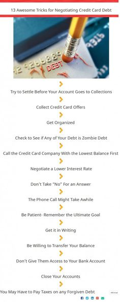 13 Awesome Tips For Negotiating Credit Card Debt | Visual.ly