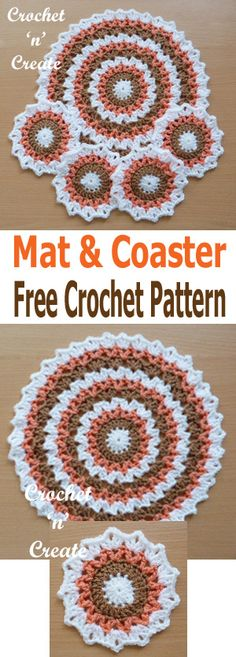 Pretty edged circular crochet mat-coaster set, I have used warm Winter colors, but they would look just as nice in bright sunny colors, you . Crochet Hot Pads, Crochet Mat, Crochet Dollies, Crochet Dishcloths, Crochet Mandala, Crochet Crafts, Crochet Projects, Free Crochet, Thread Crochet