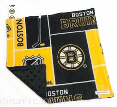 Baby Lovey Blanket  Boston Bruins Black and Gold Lovey by Clare's Clothesline, $14.50