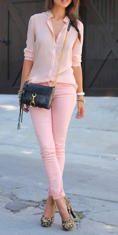 ::Monotone light pink outfit is spiced up with leopard pumps and a classic black cross body bag::