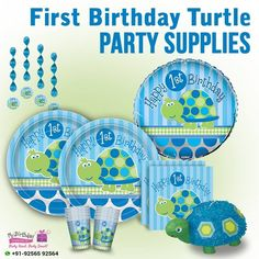 For your kid's very special day, we've got our super-cute 1st Birthday Turtle party supplies!  #FirstBirthdayTurtleSupplies #TurtlePartySupplies #MyBirthdaySupplies