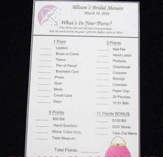 Wedding ~ Bridal Shower ~ What's In Your Purse ~ Game Cards ~ Fun Activity