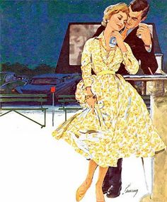 Love at the Drive-in ~ Robert Levering illustration for a Pepsi ad, 1958.