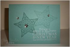 Toni Tessler (tonistamps) Independent Stampin Up Demonstrator. Bright and Beautiful Lost Lagoon Frosted embellishments Silver Encore
